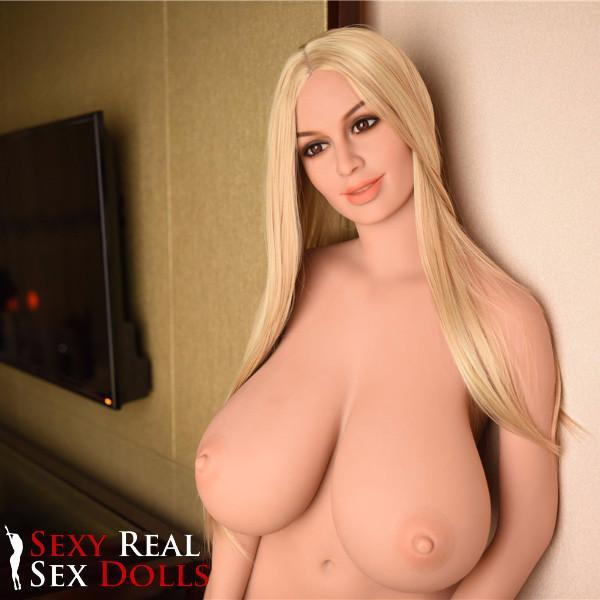 Blonde real sex doll with big tittes